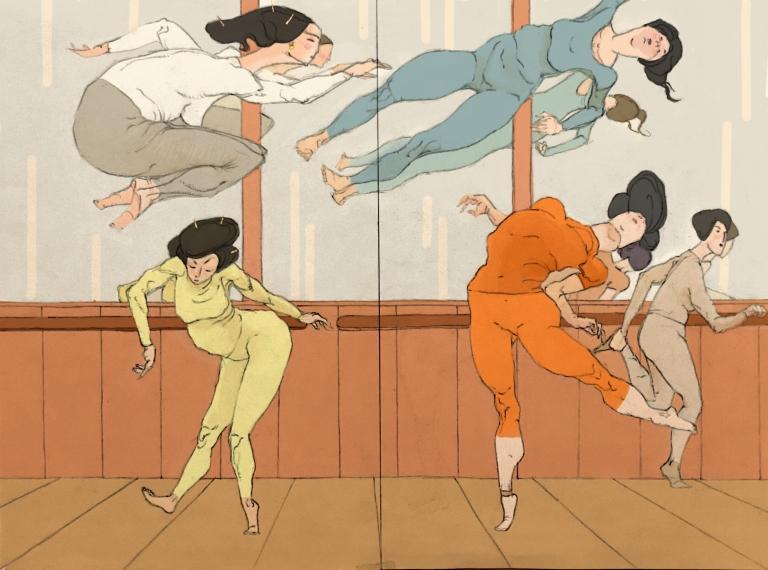 Danseuses geishas en salle d'entraînement, en habits colorés et avec  souplesse et acrobaties