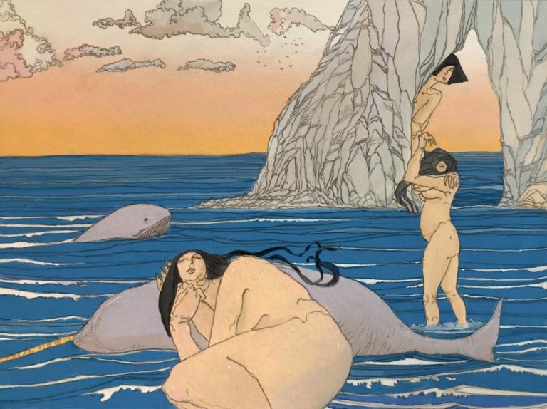 Nikaïades après la création de la Méditerranée (crayon sur papier et couleurs numériques, 2018)