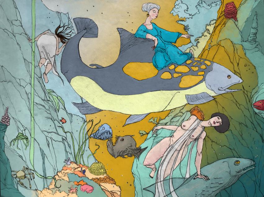 Nikaiades des abysses (dessin au crayon et couleurs numériques, 2018) Série Nikaïades