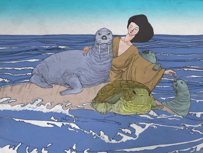 Une nikaïade entourant des animaux aquatiques (crayon sur papier et couleurs numériques, 2018))